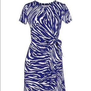 DVF Zoe Faux Wrap Dress - Blue Tiger Size 8
